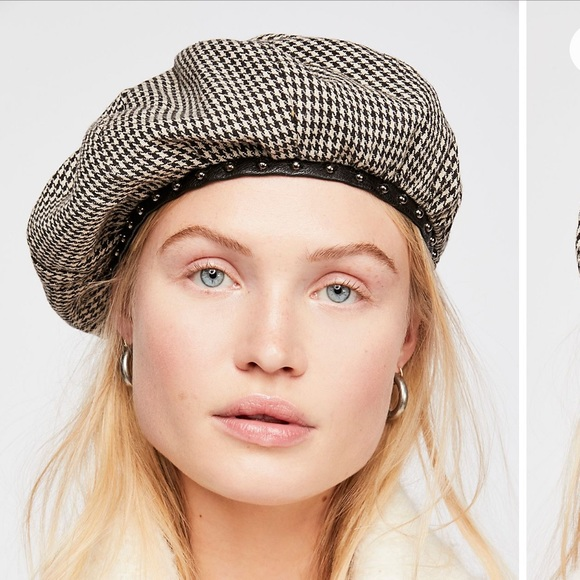 eb31fa625f2fb Free People Alice Studded Houndstooth Beret